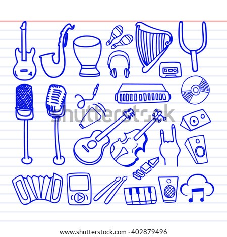 Set of music doodle icon. - stock vector