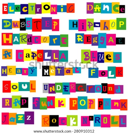 Set of music genres made of colorful letters over white background - stock vector