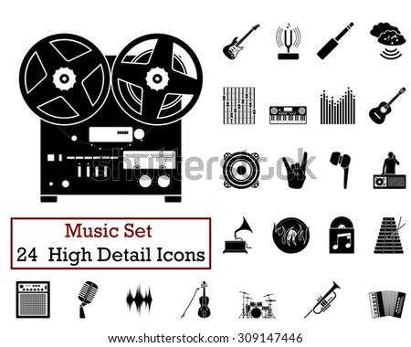 Set of 24 Music Icons in Black Color.  Suitable For All Kind of Design (Web Page, Interface, Advertising, Polygraph and Other). Vector Illustration.  - stock vector