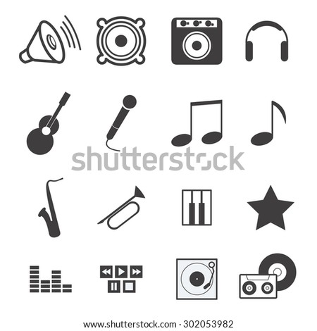 Set of music icons in vector - stock vector