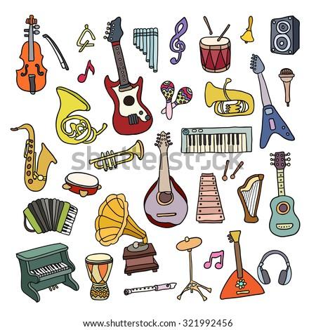 Set of Music Instruments. Beautiful vector design - stock vector