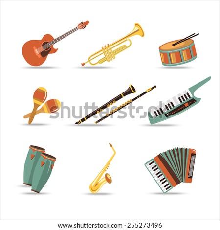 Set of music instruments. Flat style design. Vector illustration. - stock vector
