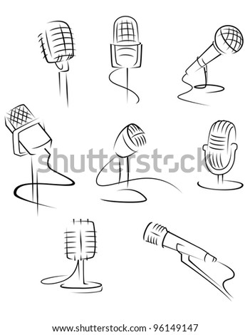 Set of music microphones isolated on white background for art design. Vector illustration - stock vector