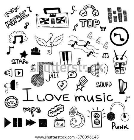 Set Music Symbols Stock Vector 570096145 Shutterstock