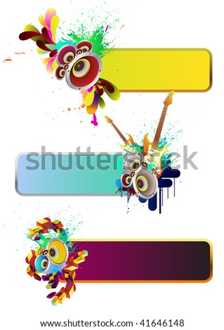 Set of musical elements - stock vector