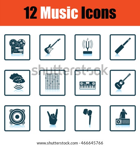 Set of musical icons. Shadow reflection design. Vector illustration.