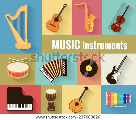 Set of musical instruments harp, guitar, saxophone, violin, drum, accordion, piano and banjo.  Isolated on a separate background. - stock vector