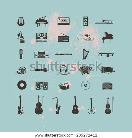 Set of Musical Instruments Icons - stock vector