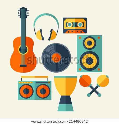 Set of musical instruments in flat design style. - stock vector