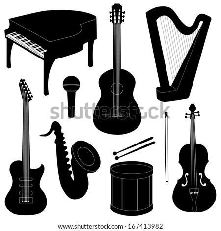 Set of musical instruments silhouettes isolated on white - stock vector