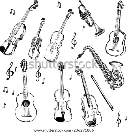 set of musical instruments, sketch design element, hand drawn vector illustration - stock vector