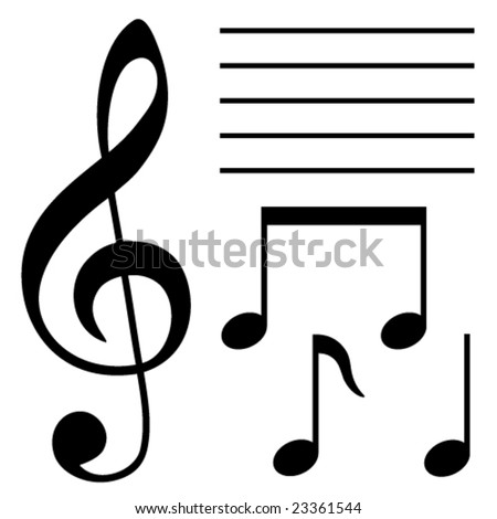 Set Musical Symbols Stock Photo Photo Vector Illustration