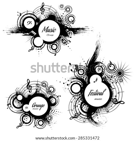 set of musical the grunge blots with space for text, vector illustration - stock vector