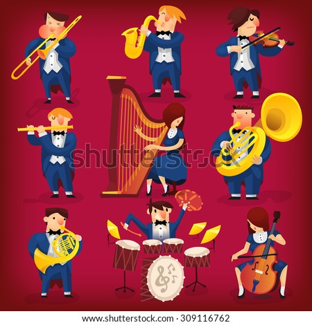 Set of musicians playing in classic symphonic orchestra on all kinds of instruments - stock vector