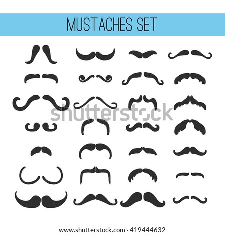 Set of mustache isolated on the white background. Elements for Father's Day greeting card.