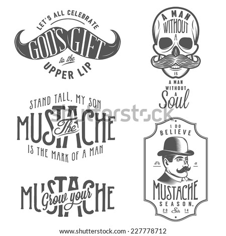 Set of mustache related quotes and design elements - stock vector