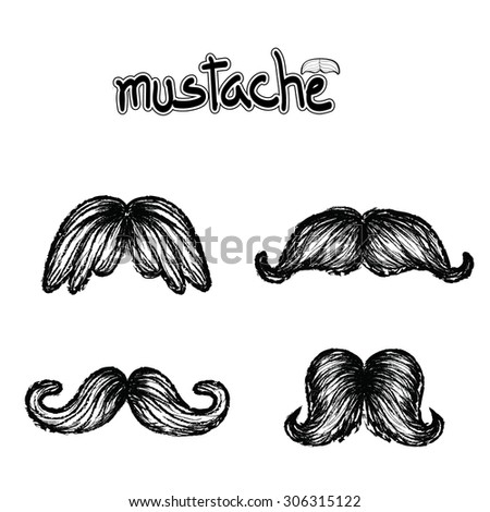 Set of mustache vector on white background, hipster collection