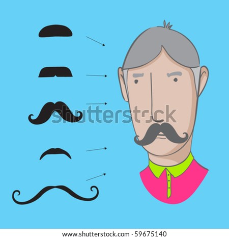 set of mustaches - stock vector