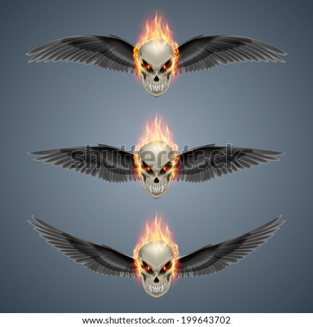 Set of mutant skulls with long fangs, orange flame and black wings - stock vector