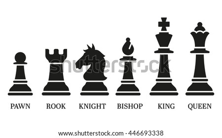 Set Named Chess Piece Vector Icons Stock Vector 446693338 ...