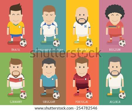 Set of national soccer team uniform , football player  , eps10 vector format - stock vector