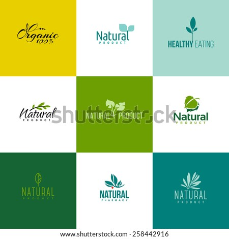 Set of natural and organic products logo templates. Icons of leaves and branches - stock vector