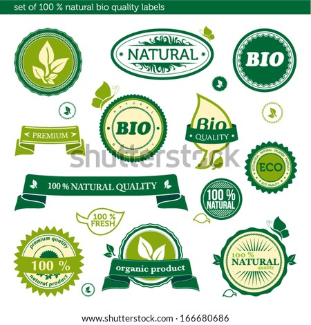 Set of 100 % natural bio quality labels