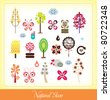 set of natural elements (can use for bookmark, sticker & website) - stock vector