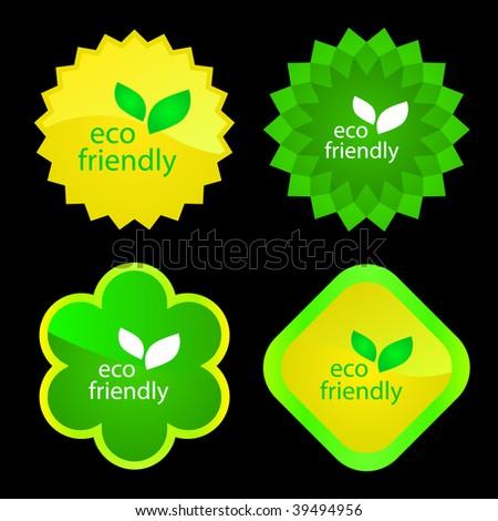 Set of natural labels. Vector set. - stock vector