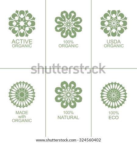 Set of natural organic eco badges and green labels. Vector illustration. Made with organic. Active organic - stock vector