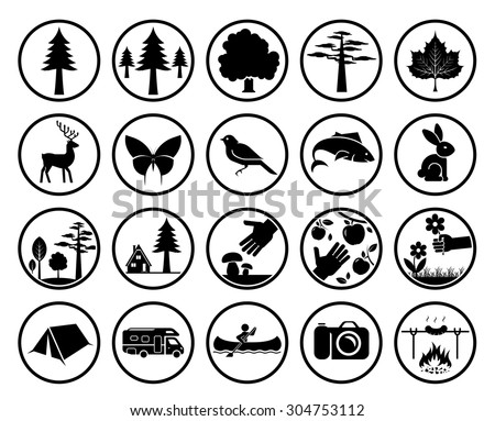Set of nature signs. Collection of forest and parks signs. Camping in nature. Eco tourism icons.  - stock vector