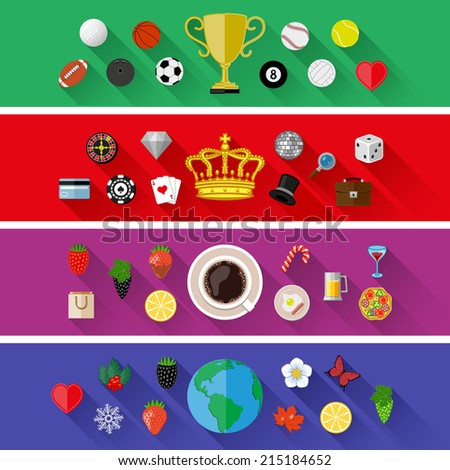 Set of nature, sports, food and drinks concepts. Flat design. Vector illustration.  - stock vector