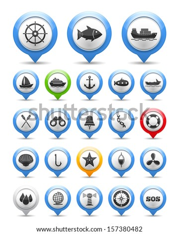 Set of nautical and fishing icons, vector eps10 illustration - stock vector