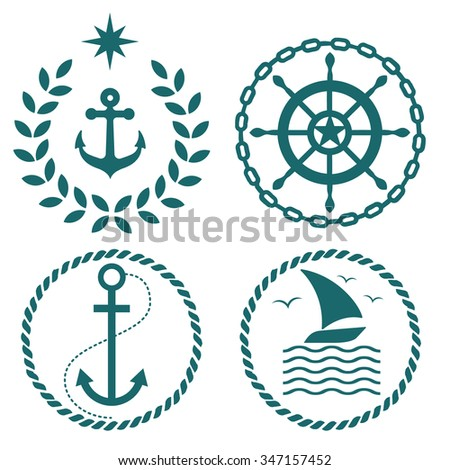 Set of nautical and marine emblems with anchor logo - stock vector