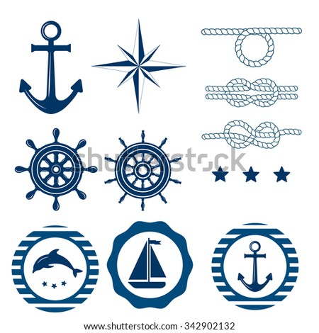Set of nautical badges and labels. Vector Collection of various nautical elements for design and page decoration. Summer holidays, travel, vacation, adventure labels template set. Nautical decoration.