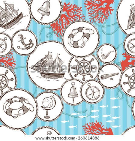 Set of nautical design elements. Hand drawn illustrations. Abstract pattern.