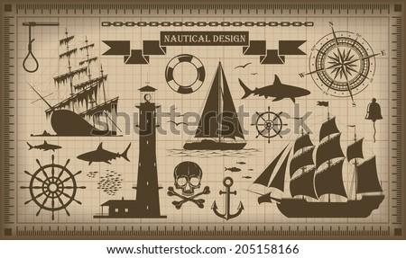 Set of nautical design elements - vector EPS10. No trace.  - stock vector