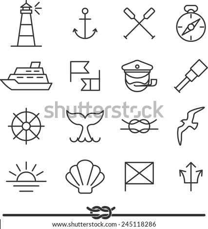 Set of nautical icons and design elements in vintage line style - stock vector