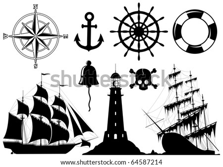 Set of Nautical Icons isolated on white background - vector - stock vector