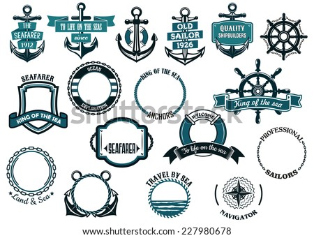 set of nautical or marine themed icons and frames including ships anchors and wheels and circular - Nautical Frames