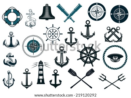 Set of nautical or naval icons with anchor, ship wheel, crossed tridents, lighthouse, bell, compass and spyglass for marine heraldry design - stock vector