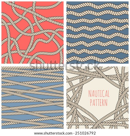 set of nautical rope backgrounds - stock vector