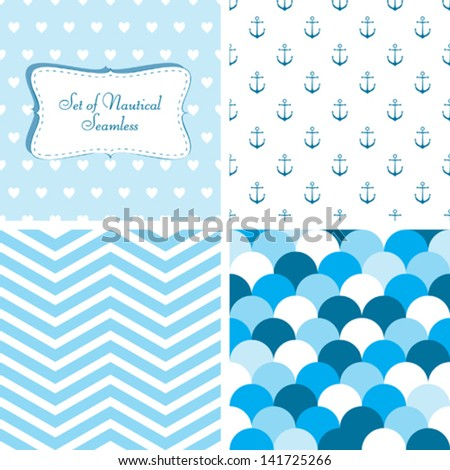Set of Nautical seamless - stock vector