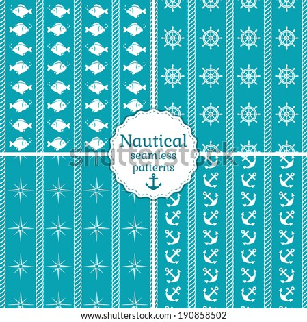 Set of 4 nautical seamless patterns in blue and white colors. Vector illustration. - stock vector