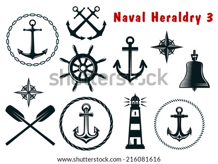 Set of naval heraldry icons with assorted marine anchors, crossed oars, ship wheel, compass, lighthouse and bell - stock vector