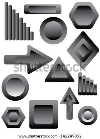 set of navigation icons for web design - stock vector