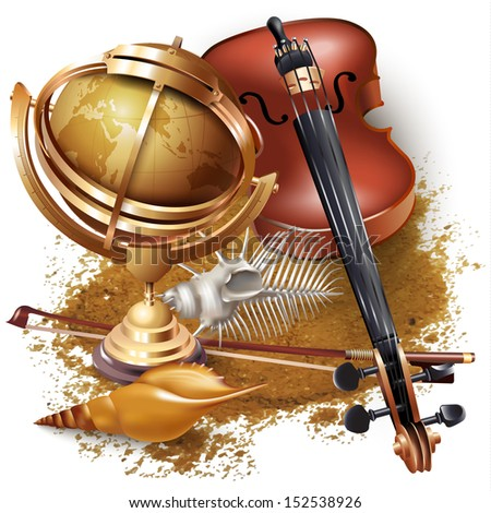 Set of navigation tools and a classical violin, isolated on white background - stock vector