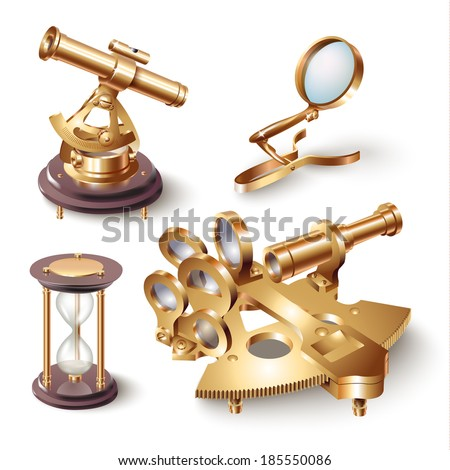 Set of navigation tools, isolated on white background. Vector illustration   - stock vector