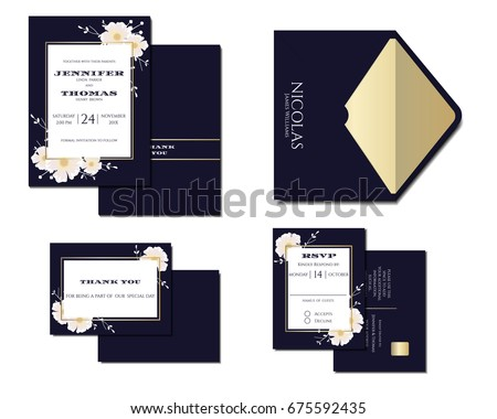 Set Navy Blue Wedding Invitation Card Stock Photo (Photo, Vector,  Illustration) 675592435   Shutterstock