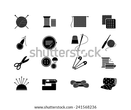 Set of needlework icons. Black silhouette for sewing, knitting, needlework, pattern. Vector illustration - stock vector